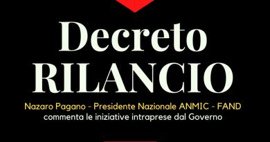 """ANMIC – DECRETO RILANCIO: """"LE NOSTRE PREOCCUPAZIONI SONO ANCHE LAVORO E PENSIONE DI INVALIDITÀ"""""""