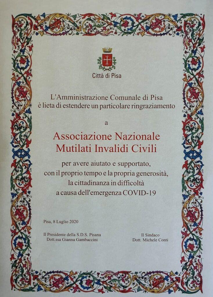 pergamena riconoscimento ANMIC Pisa