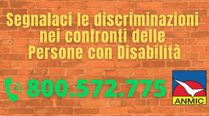 Discriminazioni: prosegue l'attività del numero verde dell'ANMIC