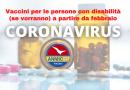 Le persone con disabilità verranno vaccinate contro il Coronavirus